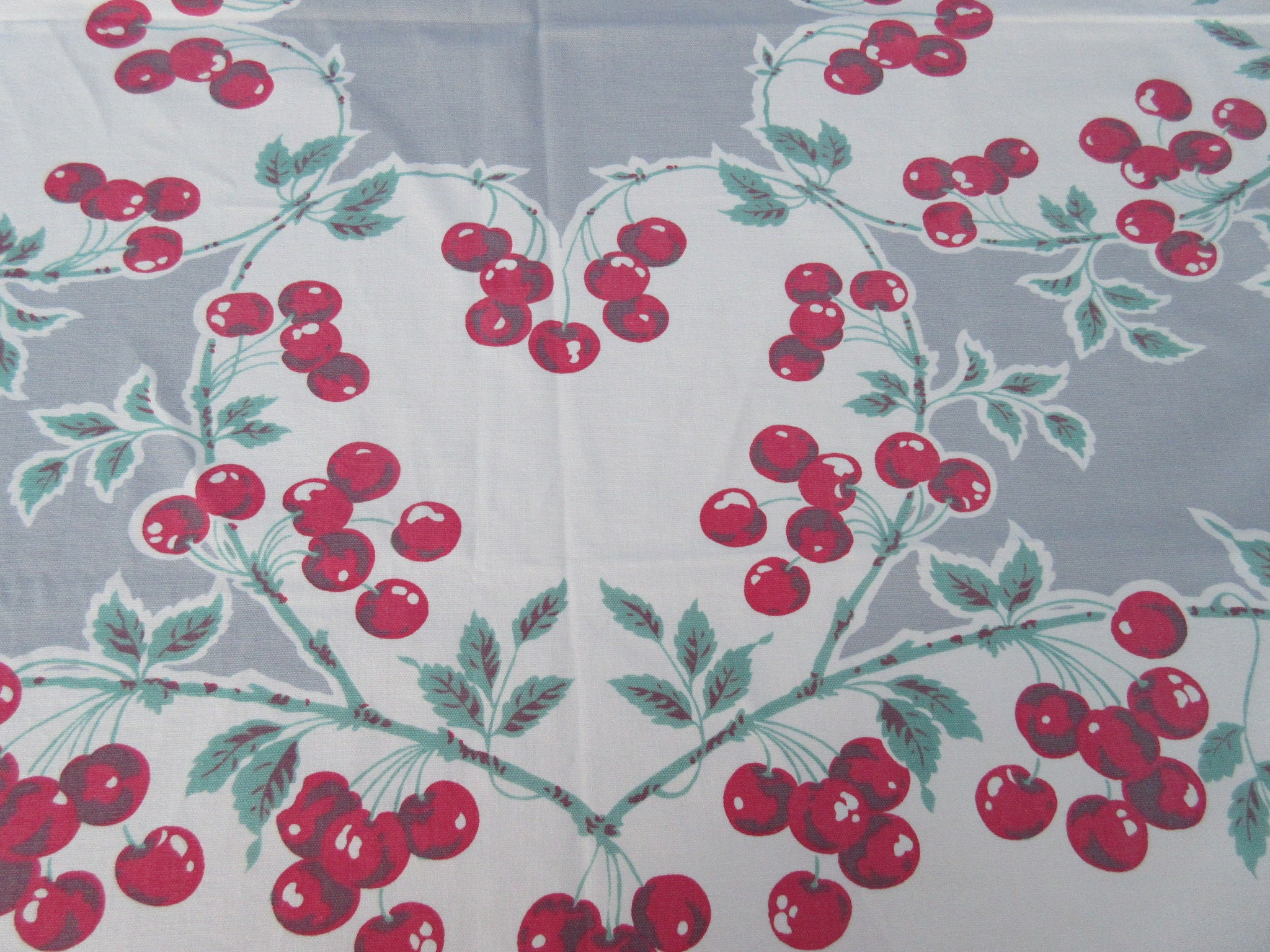 Imperfect Red Green Cherry Hearts on Gray Fruit Vintage Printed Tablecloth (53 X 45)