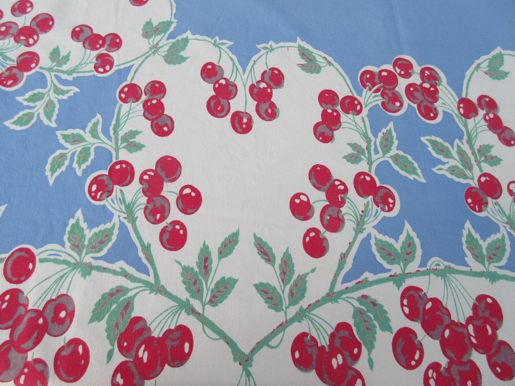 Imperfect Cherry Hearts on Blue Fruit Vintage Printed Tablecloth (61 X 54)