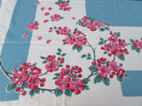Bright Pink Green Cherry Blossom on Blue Napkins Floral Vintage Printed Tablecloth (53 X 46)