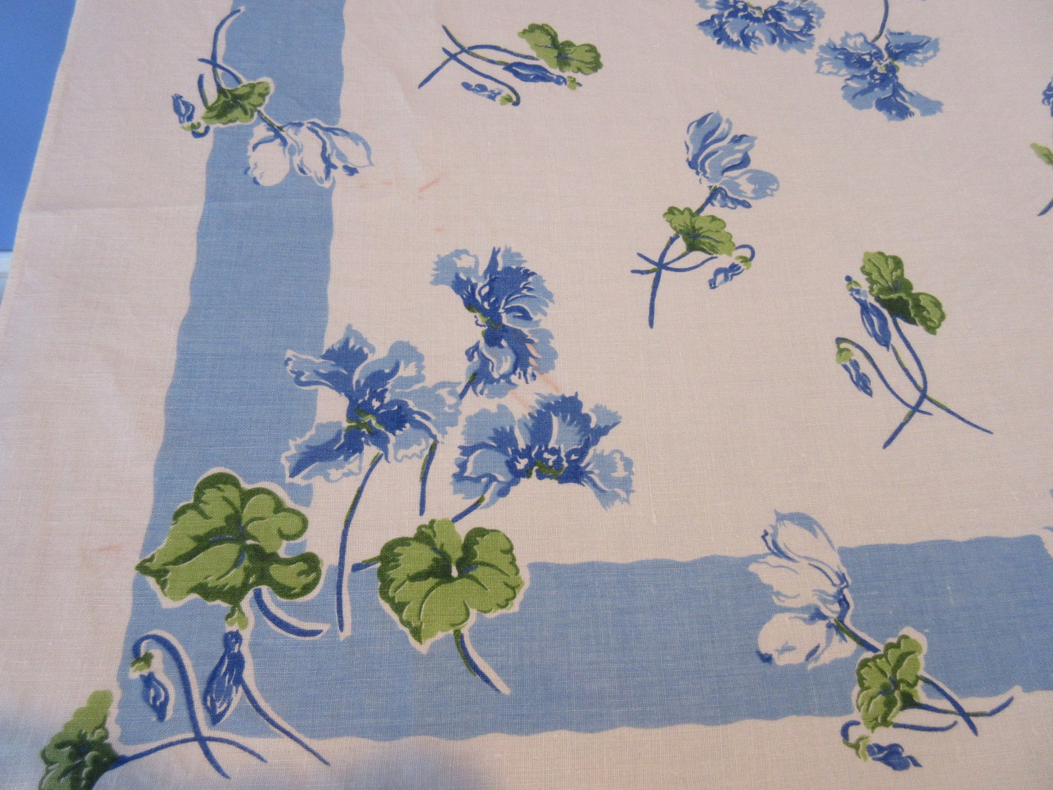 Blue Green Flowers on Blue Linen Floral Vintage Printed Tablecloth (66 X 50)