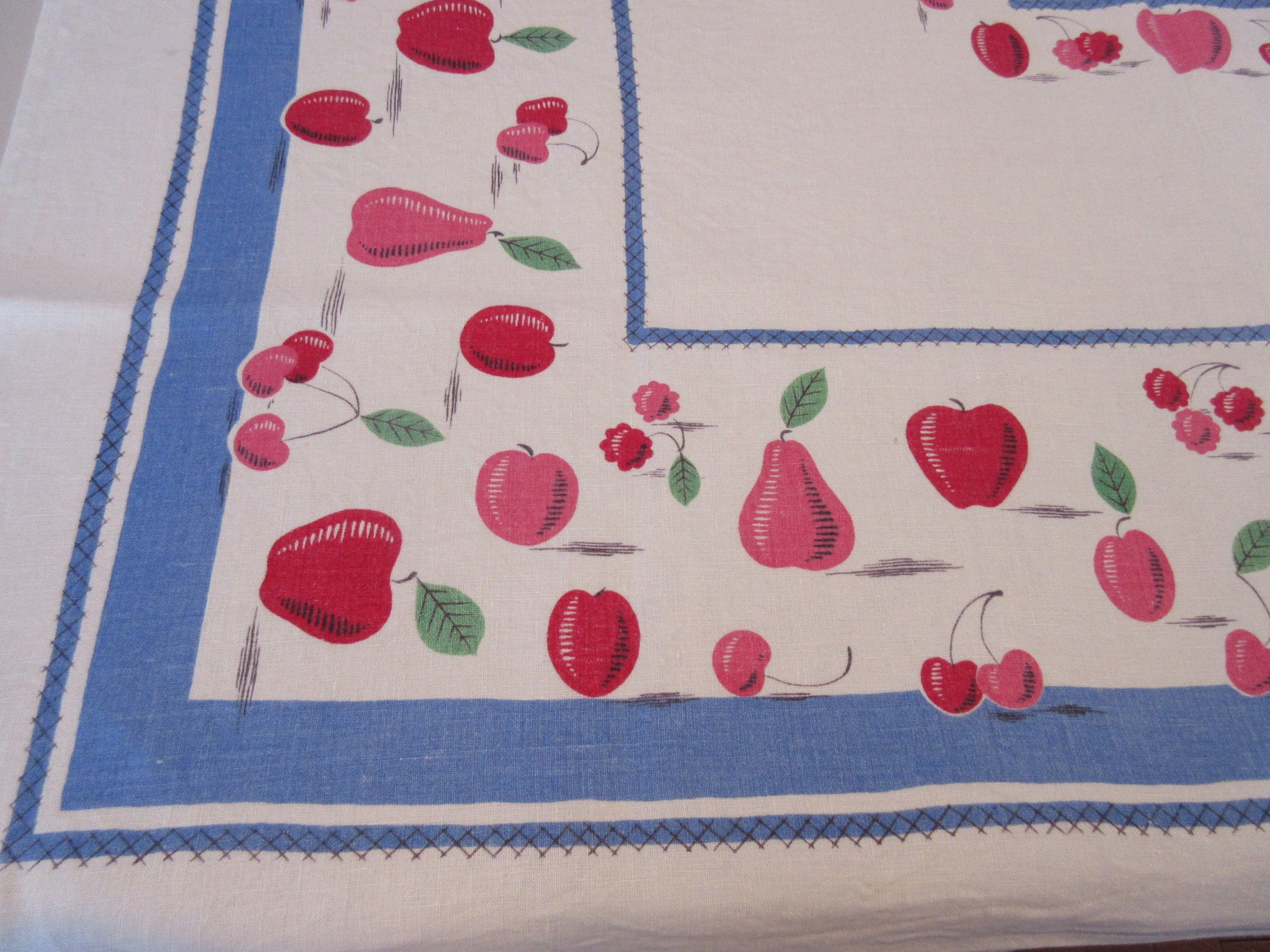 Pink Red Fruit on Blue Linen Floral Vintage Printed Tablecloth (49 X 49)