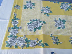 Broderie Gray Green Roses on Lemon Yellow MWT Floral Vintage Printed Tablecloth (69 X 53)
