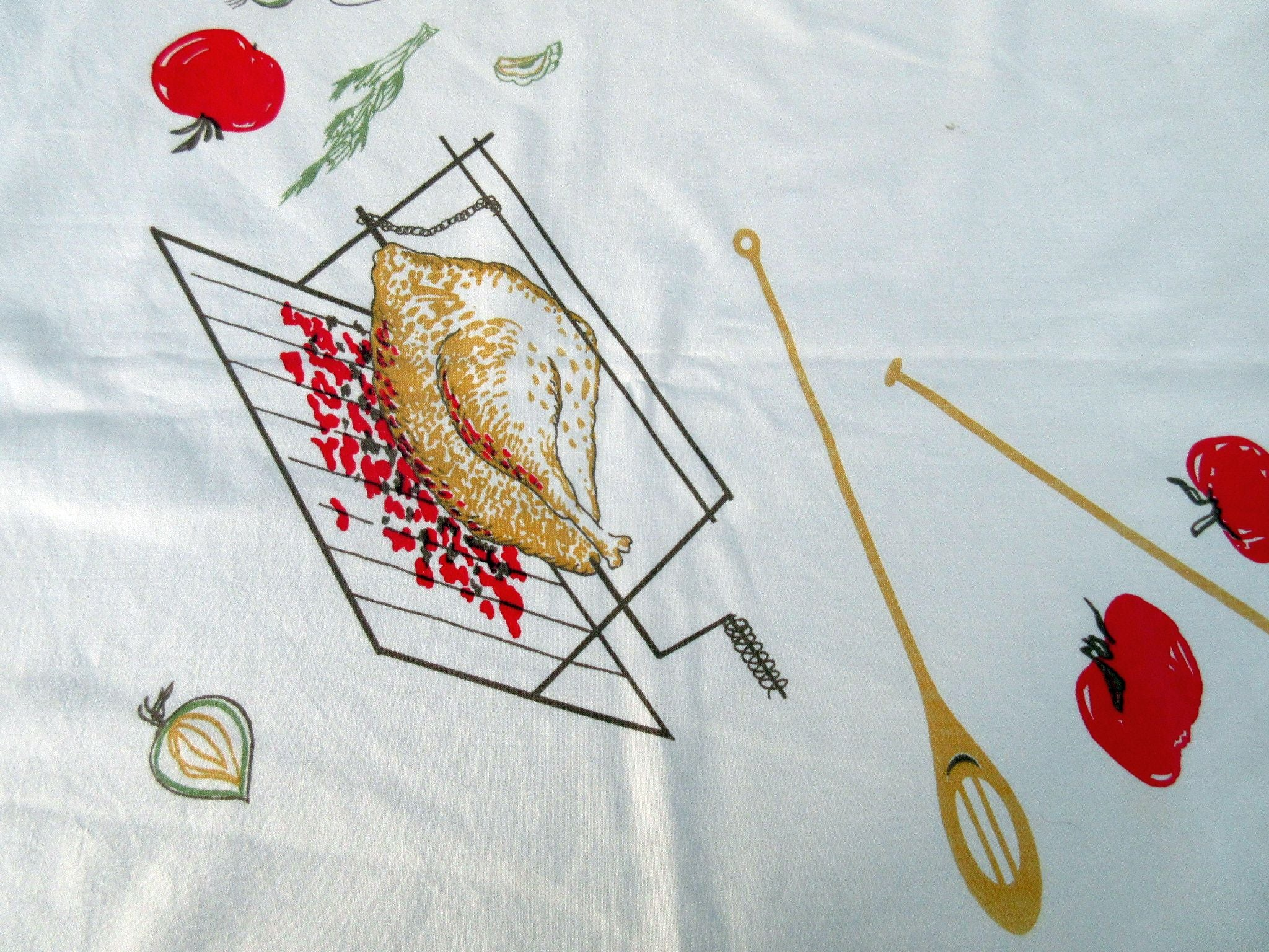 HTF Barbecue BBQ Lobster Kebabs Novelty Vintage Printed Tablecloth (64 X 52)
