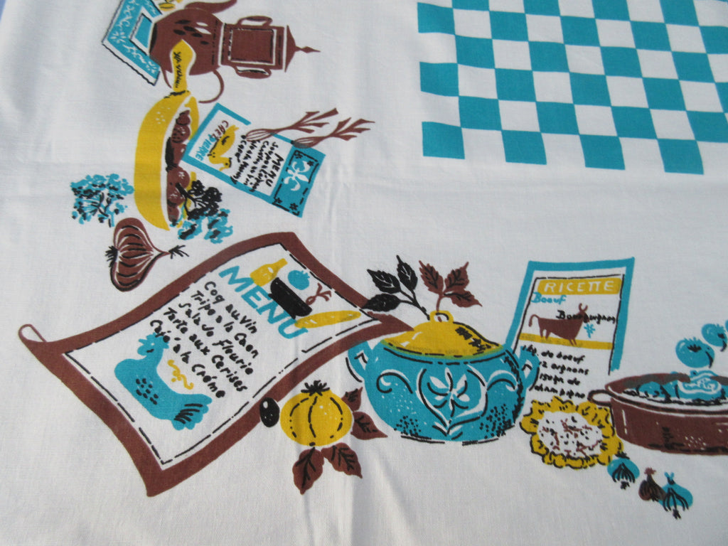 Funky Bright Bistro Checkerboard Misprint Novelty Vintage Printed Tablecloth (54 X 48)