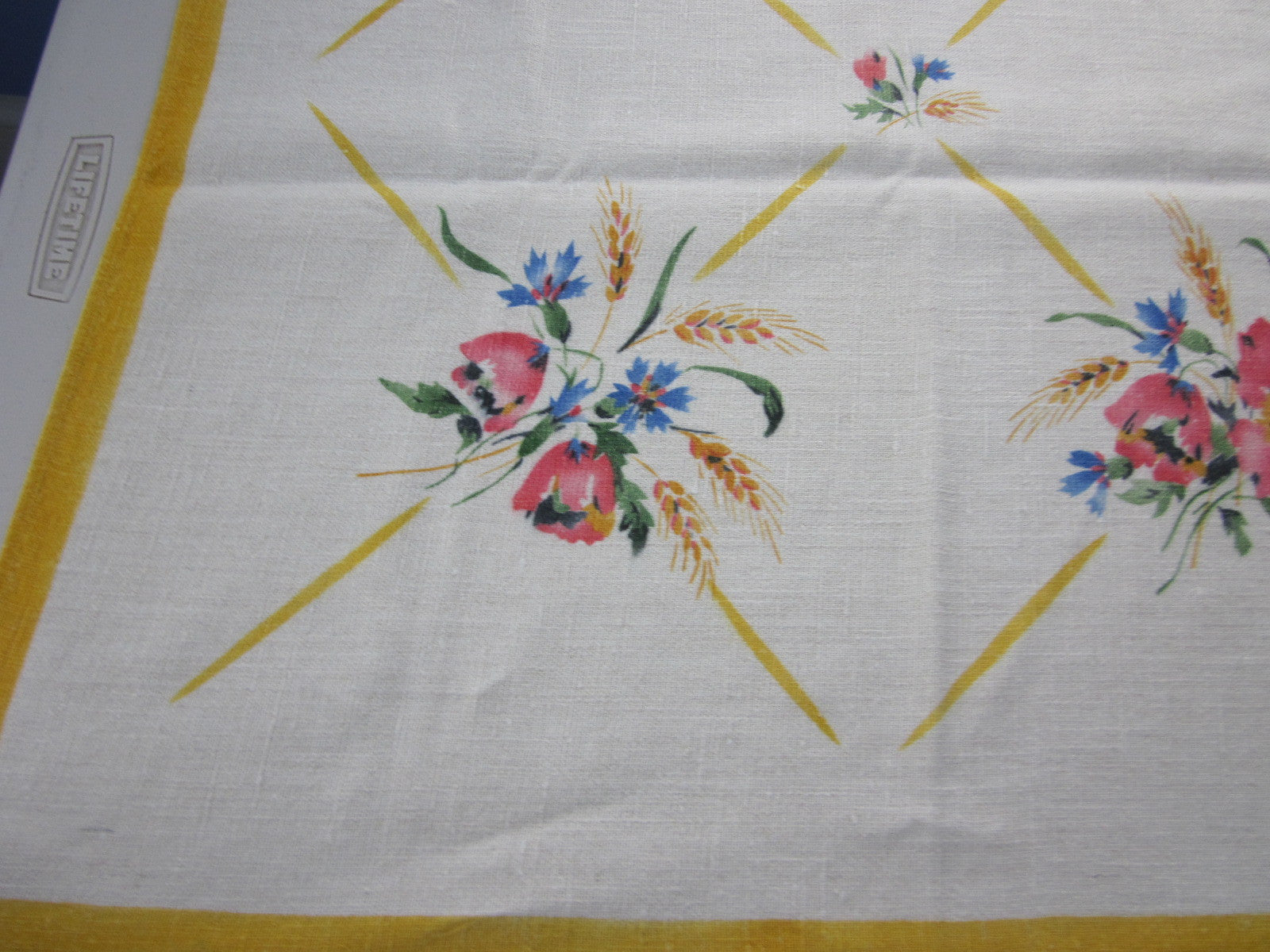 Tulips on Yellow Linen Floral Vintage Printed Tablecloth (56 X 51)