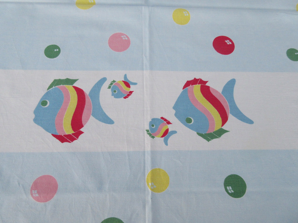 Colorful Fish Bubbles Blue Birthday Novelty Vintage Printed Tablecloth (48 X 47)