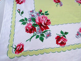Bold Pink Roses on Lime Green ML Floral Vintage Printed Tablecloth (62 X 50)