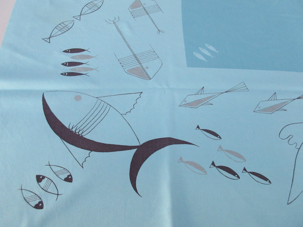 CHP Atomic Black Fish on Turquoise Novelty Vintage Printed Tablecloth (52 X 46)