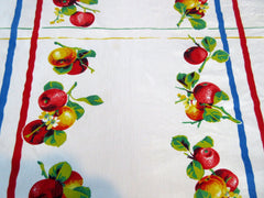 Wilendur Primary Apple Stripes Fruit Vintage Printed Tablecloth (54 X 48)
