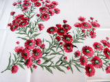 Watermelon Pink Red Daisies MWT Floral Vintage Printed Tablecloth (52 X 49)