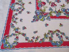 Primary Apples Pears on Red Fruit Vintage Printed Tablecloth (51 X 46)