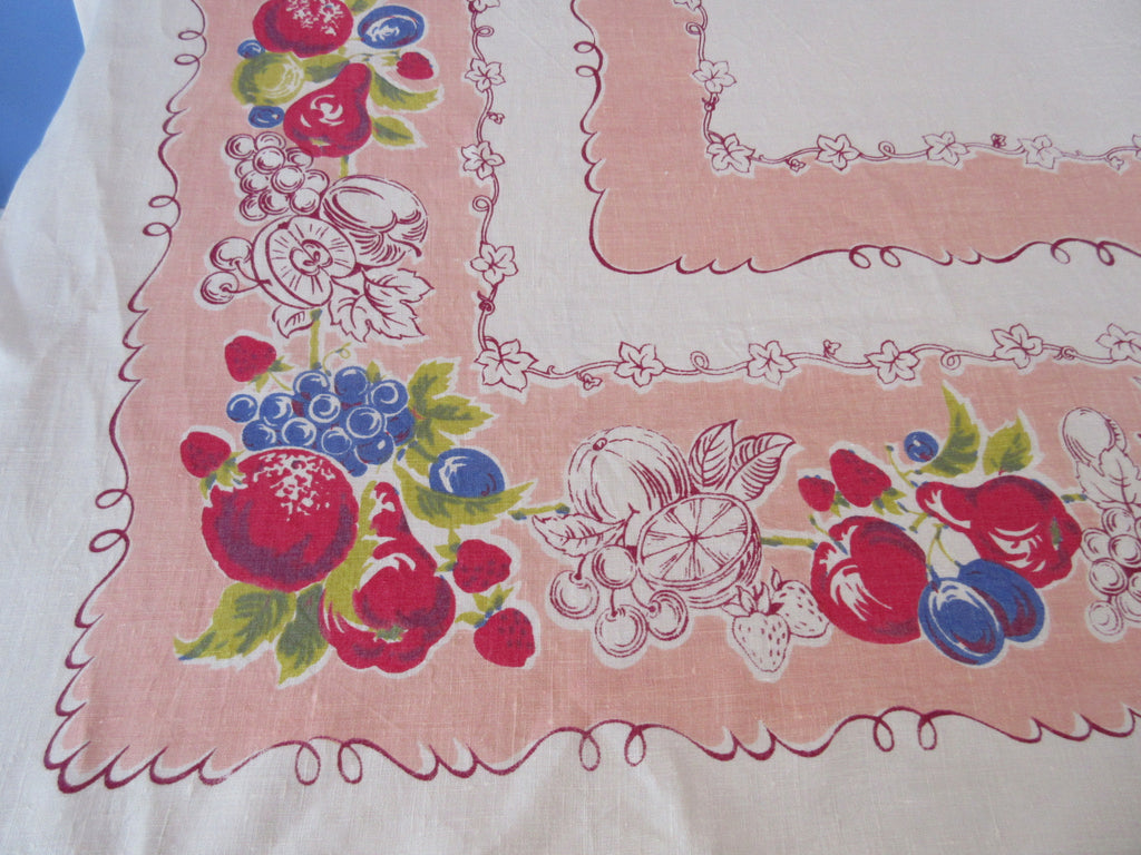 Primary Apples Pears on Peach Linen Fruit Vintage Printed Tablecloth (65 X 49)