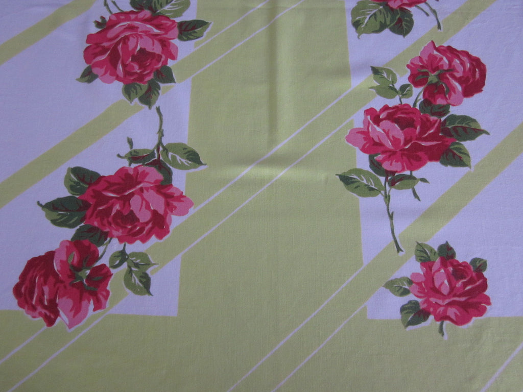 Pink Roses on Lime Cutter? Floral Vintage Printed Tablecloth (52 X 44)