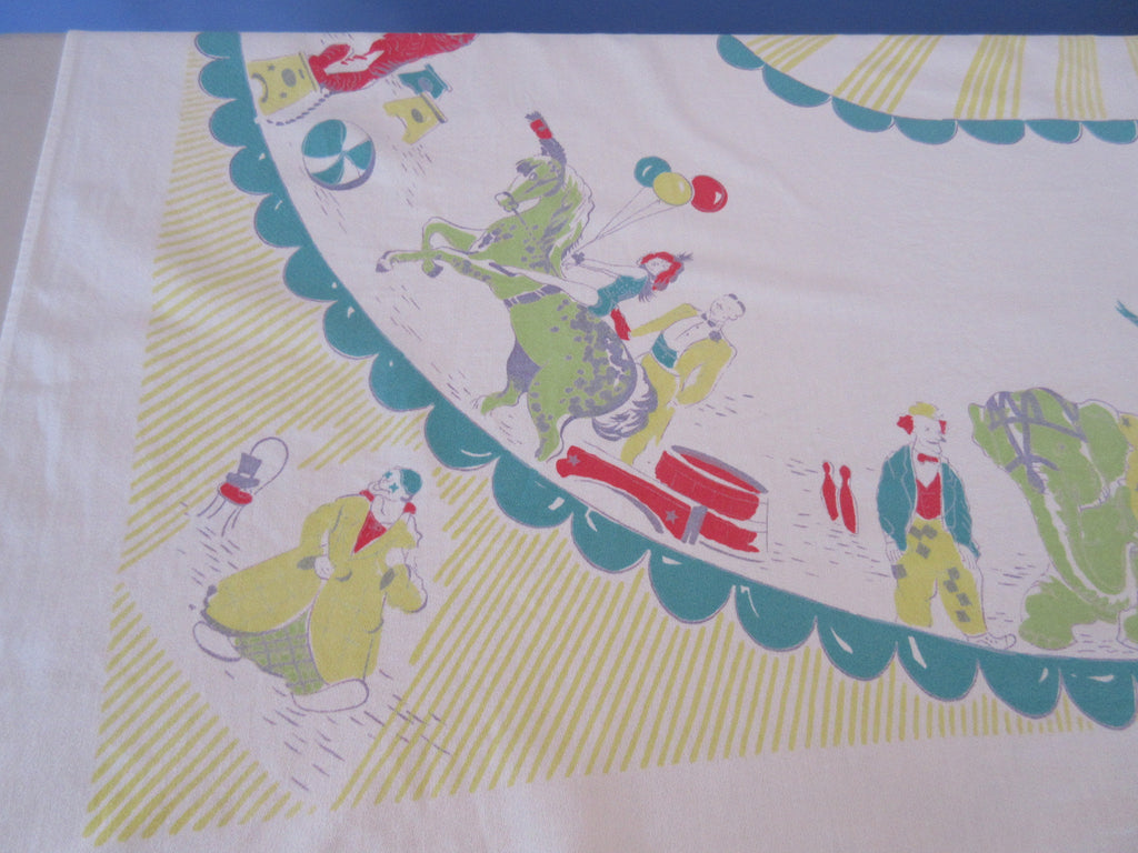 HTF Shabby Circus Clowns Horses Novelty Vintage Printed Tablecloth (62 X 52)