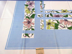 Pastel Pink Yellow Clematis on Blue MWT Floral Vintage Printed Tablecloth (53 X 51)