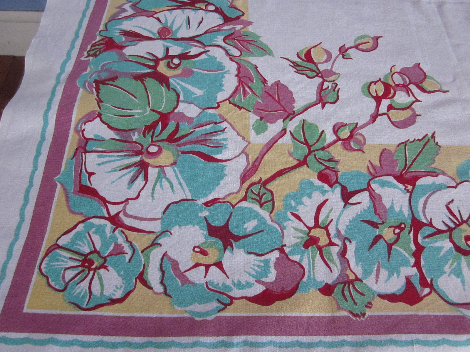 Aqua Pink Hollyhocks on Gold Floral Vintage Printed Tablecloth (52 X 48)