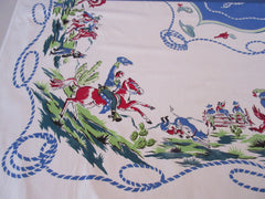 HTF Primary Western Horses Cowboys Rope Novelty Vintage Printed Tablecloth (52 X 49)