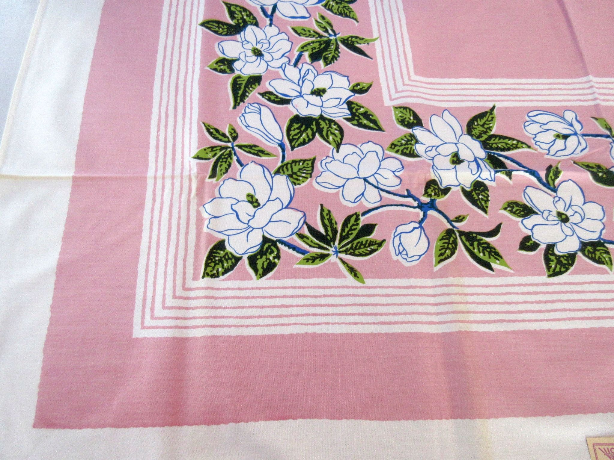 Blue Magnolias on Pink Floral NWT Napkins Vintage Printed Tablecloth (50 X 50)