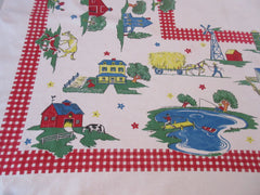 Farm Vignettes on Red Gingham Plaid Novelty Vintage Printed Tablecloth (50 X 47)