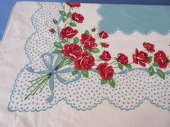 Red Roses on Blue Polka Dots Ribbons Floral Vintage Printed Tablecloth (64 X 50)