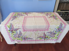 Lovely Lilacs on Lavender MWT Floral Vintage Printed Tablecloth (51 X 50)