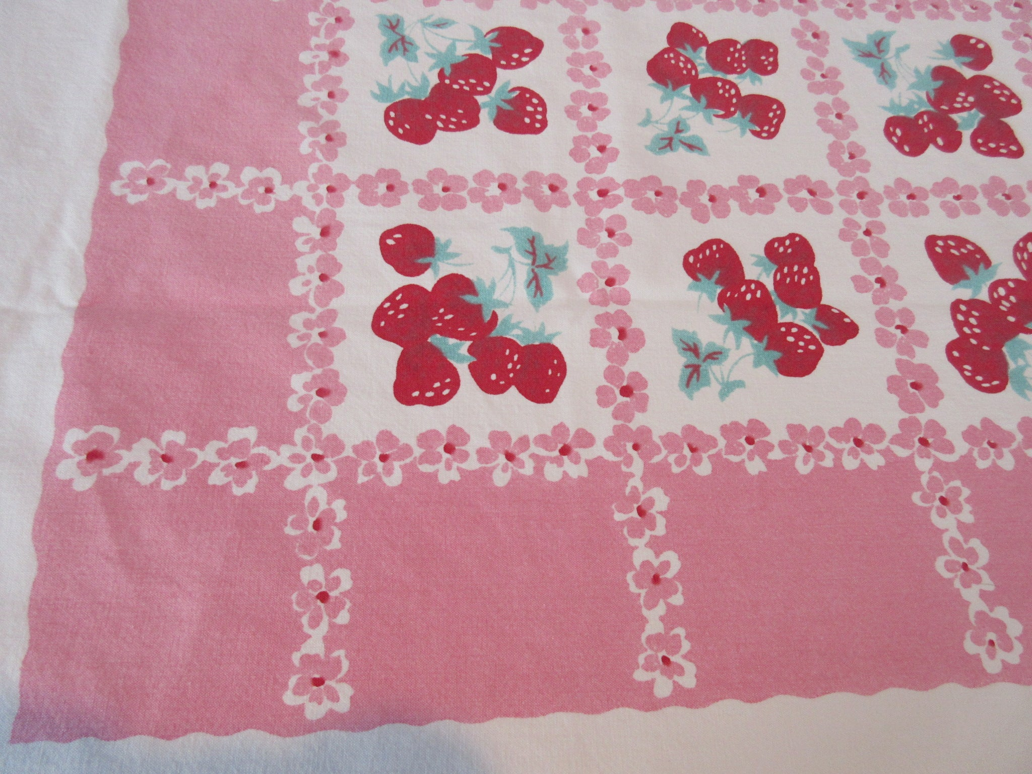 Larger Heavy Strawberry Grid on Pink Fruit Vintage Printed Tablecloth (80 X 56)