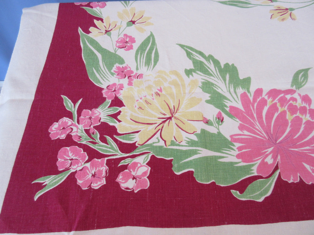 Larger Pink Yellow Dahlias on Magenta Linen Floral Vintage Printed Tablecloth (67 X 50)