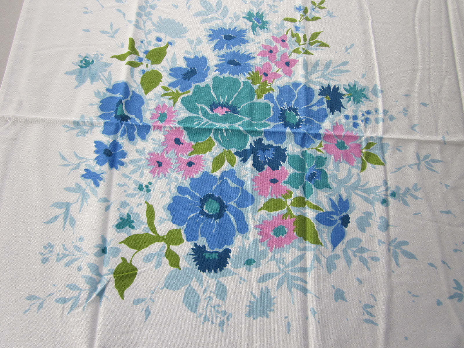 Pretty Pastel Blue Floral MWT Vintage Printed Tablecloth (52 X 50)