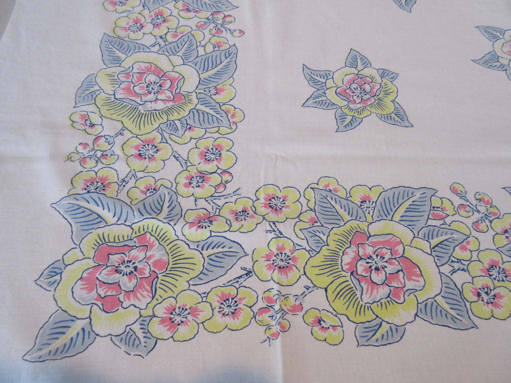 Pastel Pink Blue Yellow Cutter?  Floral Vintage Printed Tablecloth (52 X 45)