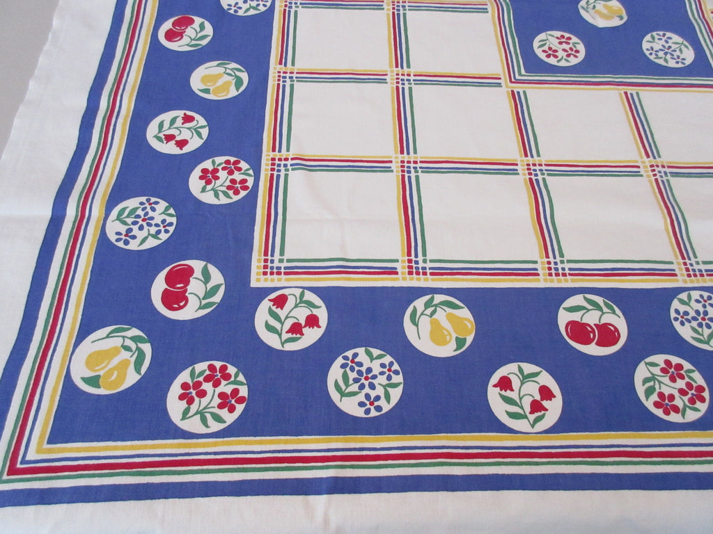 Primary Fruit Flower Circles Stripes on Blue Vintage Printed Tablecloth (49 X 46)