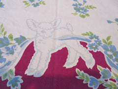 Rare Early Blue Easter Lambs on Magenta Novelty Vintage Printed Tablecloth (52 X 46)