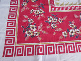 Red Dogwood Oriental Linen Floral Vintage Printed Tablecloth (50 X 49)