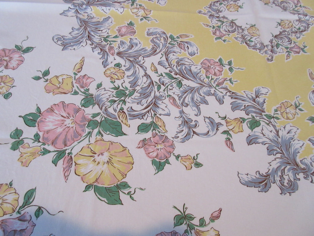 Pastel Pink Morning Glories on Yellow Floral Vintage Printed Tablecloth (52 X 46)