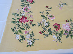 Large Pink Chrysanthemums on Golden Yellow Floral NWOT Vintage Printed Tablecloth (83 X 60)