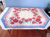 Red Green Tulips on Blue Sheeting Floral Vintage Printed Tablecloth (50 X 46)