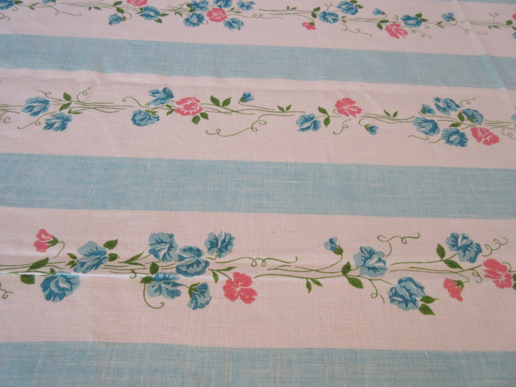 Large Pink Sweet Peas on Aqua Turquoise Linen Floral Vintage Printed Tablecloth (85 X 56)