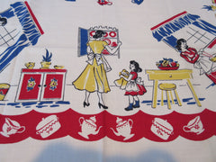 Unwashed Mother Daughter on Red ML NWOT Novelty Vintage Printed Tablecloth (50 X 50)