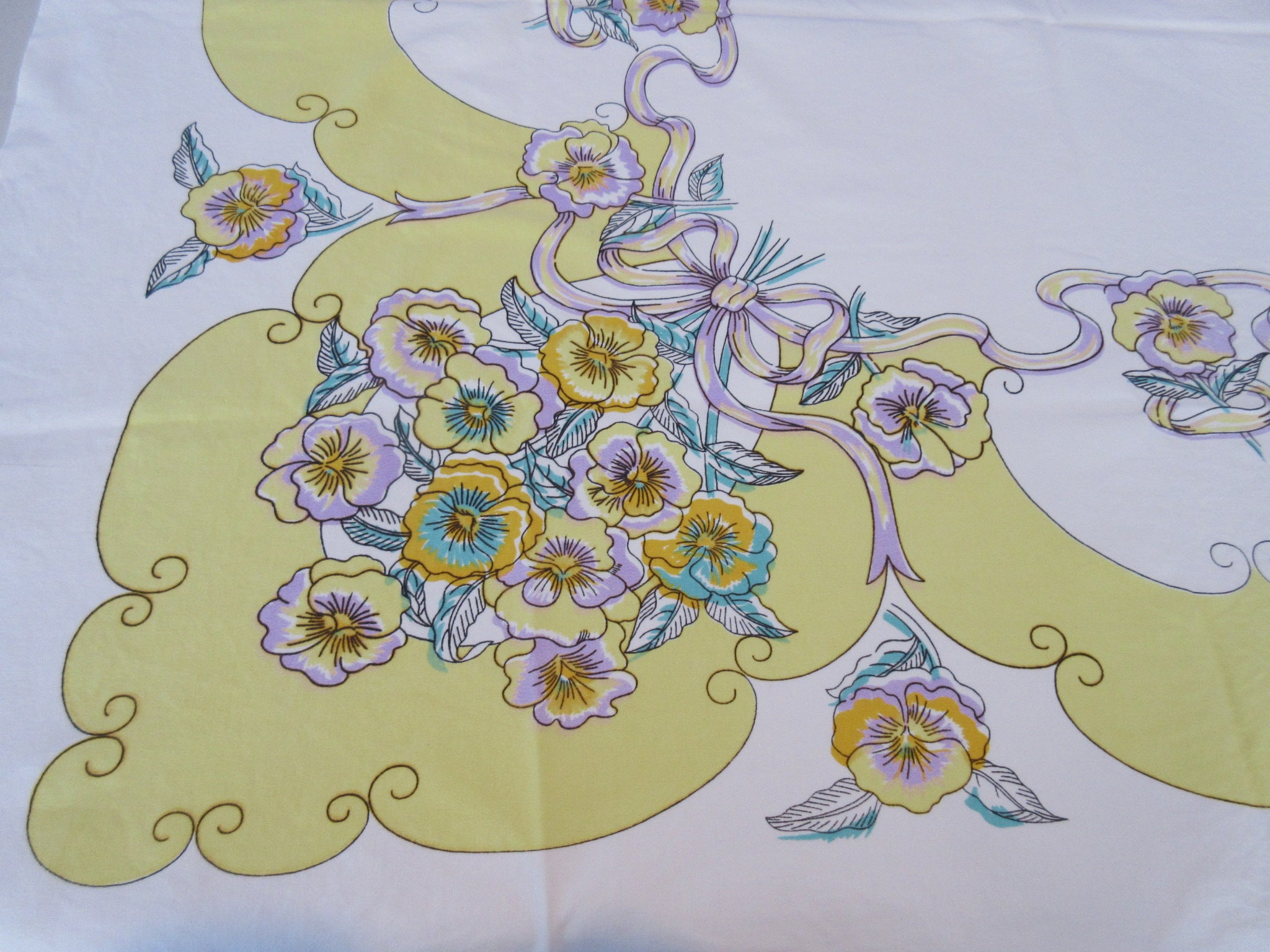 Pastel Pink Pansies Ribbons on Yellow Floral Vintage Printed Tablecloth (50 X 45)