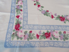 Romantic Pink Green Roses on Blue Thick Floral Vintage Printed Tablecloth (59 X 47)