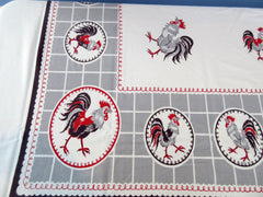 Funky Rooster Circles Novelty Vintage Printed Tablecloth (66 X 59)