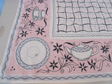 Pink Black Teacups Squiggles Novelty Napkins Vintage Printed Tablecloth (49 X 49)