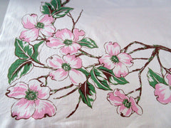 Pink Dogwood Branches Franciscan Maybe? Floral Vintage Printed Tablecloth (50 X 48)