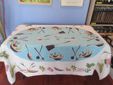 Fab Pastel Salad Food on Turquoise Aqua Linen Novelty Vintage Printed Tablecloth (64 X 50)