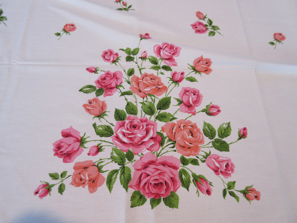Pink Coral Rose Pyramids Broderie MWT Floral Vintage Printed Tablecloth (68 X 52)