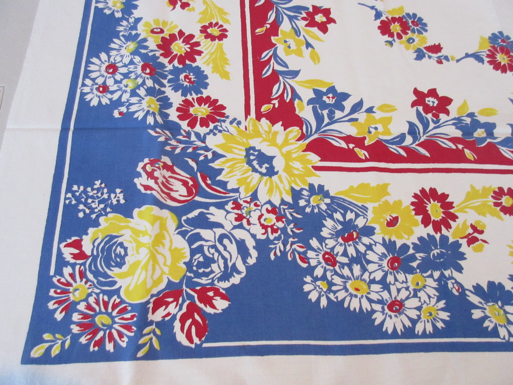 Red Yellow Block Block Print Flowers Cutter? Floral Vintage Printed Tablecloth (48 X 46)