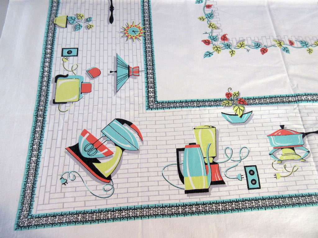 Rare Kitchen Appliances Aqua Orange Yellow Novelty Vintage Printed Tablecloth (49 X 45)