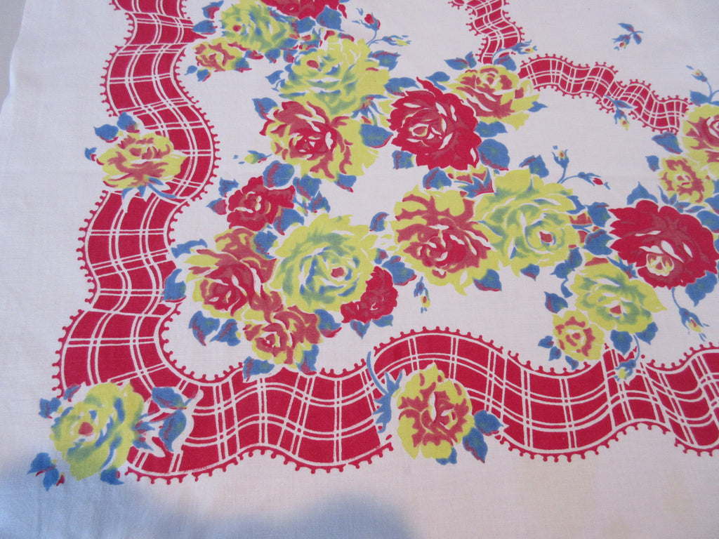 Early Red Yellow Blue Roses Ribbons Floral Vintage Printed Tablecloth (49 X 46)