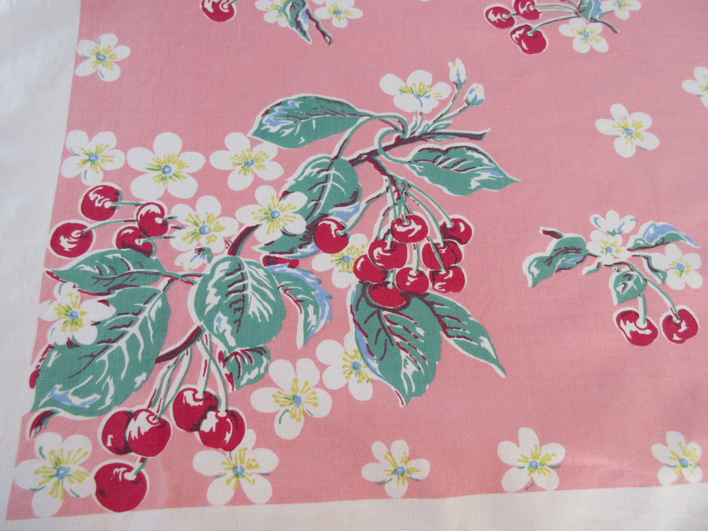 Rare Cherries on Salmon Pink Napkins Fruit Vintage Printed Tablecloth (51 X 48)