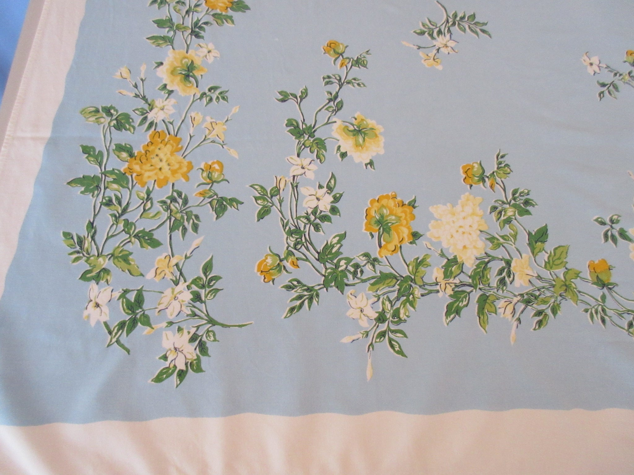 Shabby Yellow Roses Flowers on Blue Floral Vintage Printed Tablecloth (59 X 53)