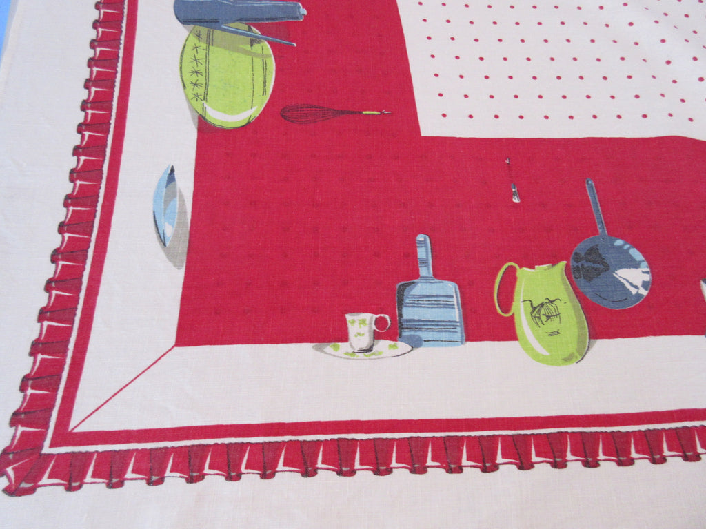 Mod Kitchen Ruffles Pegboard Red Linen Novelty Vintage Printed Tablecloth (68 X 50)